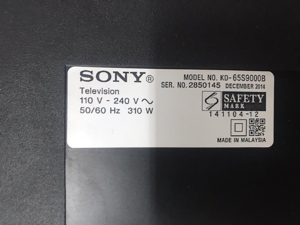 model tivi sony KD 65S9000B